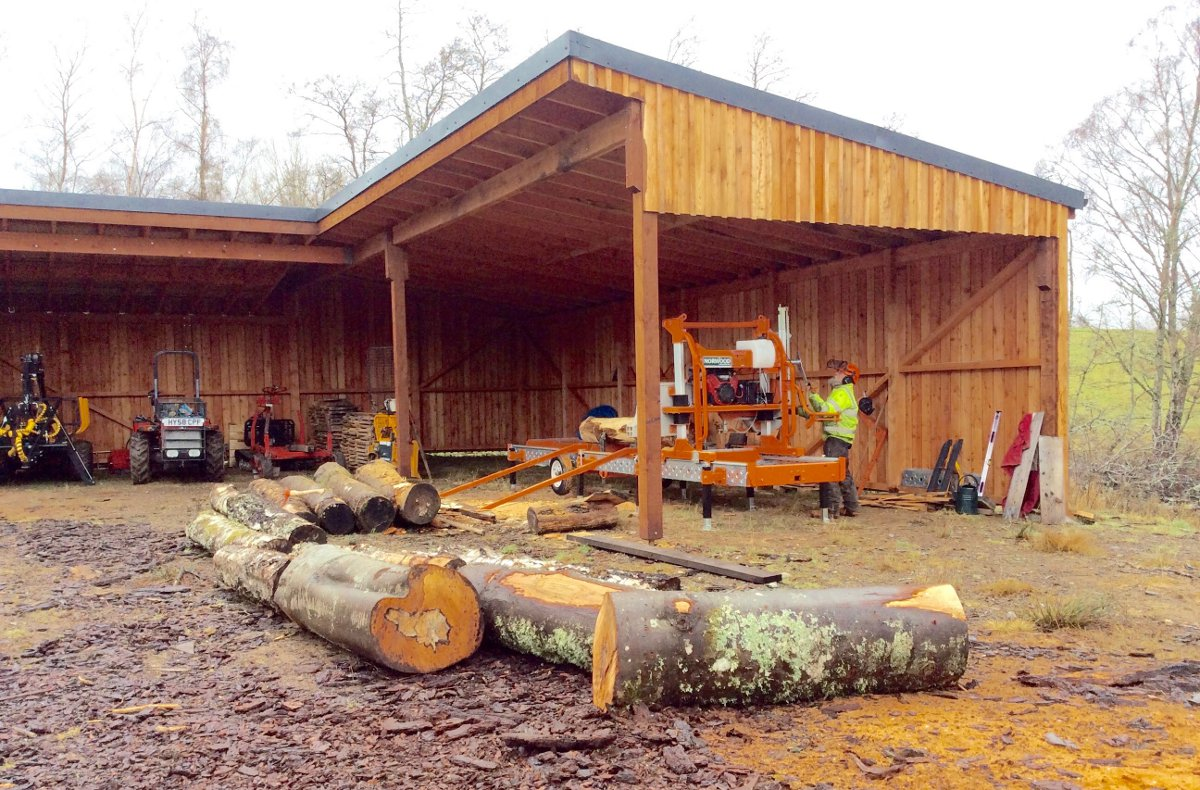 Equipment shed at Craggach Woods